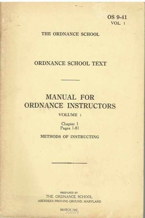 Manual for ordnance instructors, Vol. I